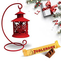 Fancy Tea Light Decor N Toblerone Christmas Combo to Anakapalli