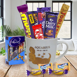 Brilliant Zodiac Sign Printed Mug with Aquarius Logo and Chocolates Hamper to Barauli