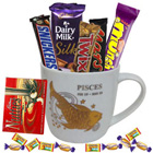 Mouth-watering Chocolates with Pisces Zodiac Sign Printed Mug Gift Combo to Belapur Road
