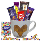 Precious Aries Astrological Sign Printed Mug along with Fabulous Chocolates Hamper to Amaraoti