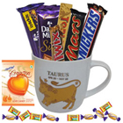 Tempting Chocolates along with an Attractive Taurus Zodiac Sign Printed Mug Gift Combo to Ludhiana