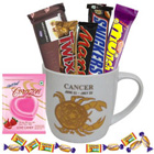 Attractive Mug with Cancer Sun Sign Print along with Tasty Chocolates Gift Collection to Bangalore