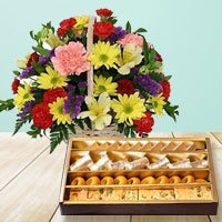 Mixed Flowers Basket with Haldiram Assorted Sweets  to Barauipur