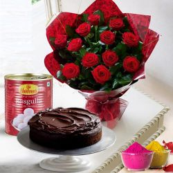 12 Red Roses and Haldiram Rasgulla with Eggless Cake 1 Kg. to Bhiwani