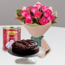 Combo of Pink Roses and Haldiram Rasgulla with Eggless Chocolate Cake to Chennai