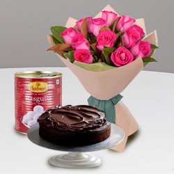 12 Red Roses and Haldiram Rasgulla with Eggless Cake 1 Kg. to India