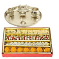 Silver plated  Puja Thali with Silver Plated Lakshmi Ganesha with Haldiram�s  Assorted Sweets to Gurgaon