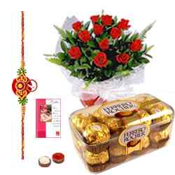 Celebration with Rochers and Roses along with Free Rakhi, Roli Tika and Chawal to Belgaum