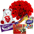 Small Teddy, Assorted Cadbury Chocolates and 12 Red Roses Bouquet to Ambala
