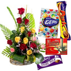 15 Mixed Roses with Assorted Cadbury Chocolates to Hyderabad