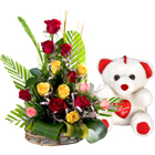 15 Mixed Roses Arrangement with Teddy bear  to Akola
