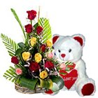 Magnetic 15 Roses  along with adorable Teddy Bear gift to Kolar