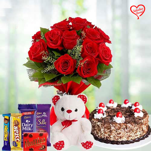 12 Exclusive Red Roses Bouquet with Cake 1 Lb, Cad... to Aligarh