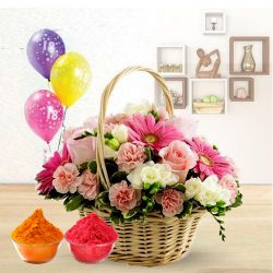 Splendid Flower bouquet with varied colorful Balloons to Ariyalur