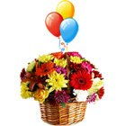 Splendid Flower bouquet with varied colorful Balloons to Aligarh