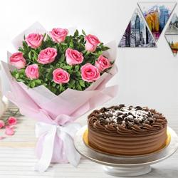 Special 10 Pink Roses and 1/2 Kg Eggless Chocolate Cake to Miraz