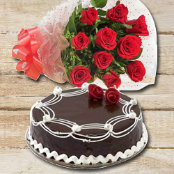 Bright 10 Red Roses with 1/2 Kg Chocolate Cake to Chittoor
