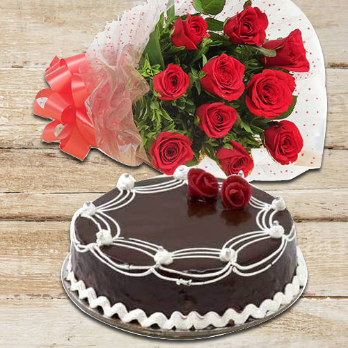 Bright Red Roses with Chocolate Cake to Anand