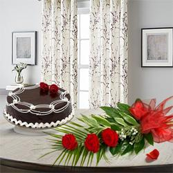 Joyful 3 Red Roses with 1/2 Kg Chocolate Cake to Ahmedabad