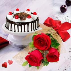 Romantic 3 Red Roses with 1/2 Kg Black Forest Cake to Belgaum