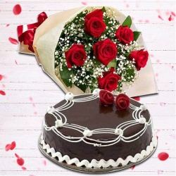 Dapper Red Rose Hand Bunch and Chocolate Cake to New Delhi