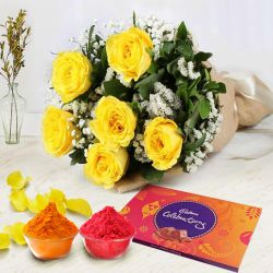 Chic Yellow Rose Bunch with Cadbury Assortment Pack to Bangalore