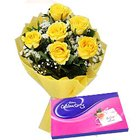 Chic Yellow Rose Bunch with Cadbury Assortment Pack to Baraut