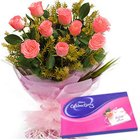 Glamorous Pink Roses Hand Bunch with Cadbury Celebration to India
