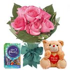 Exciting Pink Rose Bunch, Small Teddy and Mini Cadbury Celebration to Ajmer