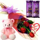 Beveled Small Teddy, Roses and Dairy Milk Silk Chocolate Bars to Baraut