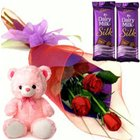 Beveled Small Teddy, Roses and Dairy Milk Silk Chocolate Bars to Bangalore