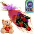 Lapel Red Rose Boutonniere, Cute Teddy and Cadbury Assortment Mini Pack to Bangalore