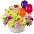 Gorgeous colorful Flower basket with bright Ballons to Bellary