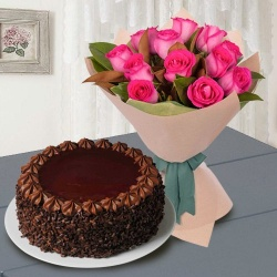 Pretty 12 Pink Roses with 1/2 Kg Chocolate Cake to New Delhi