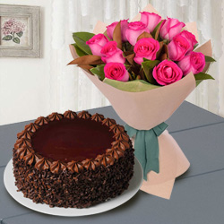 12 Red Roses with � Kg Chocolate Cake to India