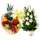 Deluxe Collection Fruits Basket N Roses Bundle to Bangalore