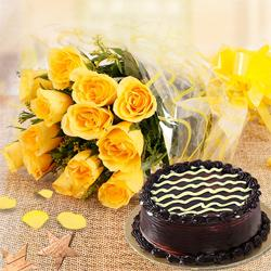 Gift of Chocolate Cake  N  Yellow Rose to Bellary