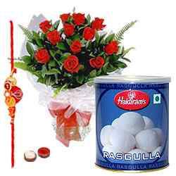 Delicious Rasgullas and Roses with Free Rakhi, Roli Tika and Chawal to Belgaum
