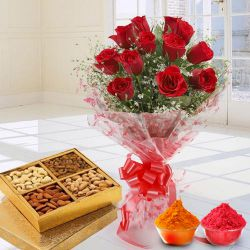 Stunning 12 Red Roses added with nutritious Dry Fruits to Adilabad
