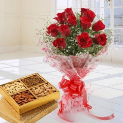 Stunning 12 Red Roses added with nutritious Dry Fruits to Hyderabad