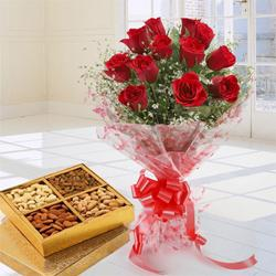 Stunning 12 Red Roses added with nutritious Dry Fruits  to Ambala