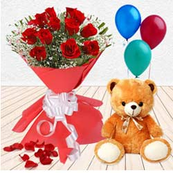 Tremendously Joyful Red Roses, Balloon and Teddy Gift Combo to India