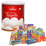 Enthralling Hamper of Haldiram Rasgulla and Crackers to Bombay