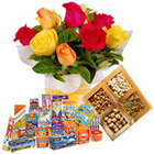 Spectacular Collection of Dry Fruits, 12 Pcs Mixed Roses with Crackers to Bhubaneswar