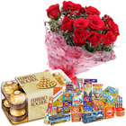 Impressive Combo of 16 Pcs Ferrero Rocher Chocolates, 10 Pcs Red Rose Bunch and Crackers to Yamunanagar