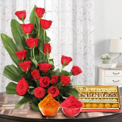 Bright charming 18 Red Roses and delicious mixed Sweets to Gurgaon