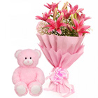 Bunch of Pink Lilies with a Love Teddy to Alapuzha