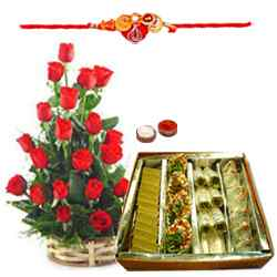 Alluring sweet collection of Roses and Sweets along with Free Rakhi, Roli Tika and Chawal to Belgaum