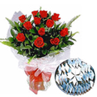 Haldiram Kaju Katli with Dozen Red Roses Bunch to Bombay