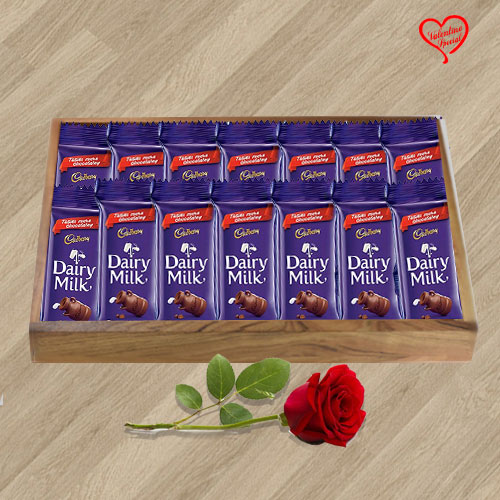 Cadbury Dairy Milk with a Red Rose for your Valent... to Faridabad